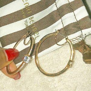 Rose gold pave henri bendel hoop earrings